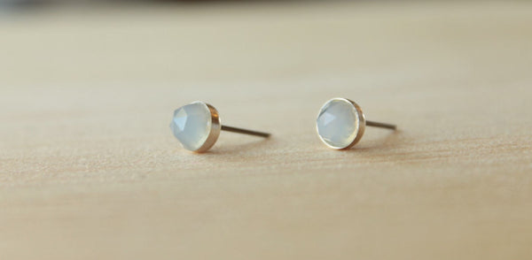 Rose Cut Natural Blue Chalcedony Bezel Gemstones, Large (Niobium or Titanium Post Earrings) - Pretty Sensitive Ears