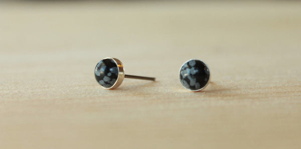 Snowflake Obsidian Bezel Gemstones (Niobium or Titanium Post Earrings) - Pretty Sensitive Ears