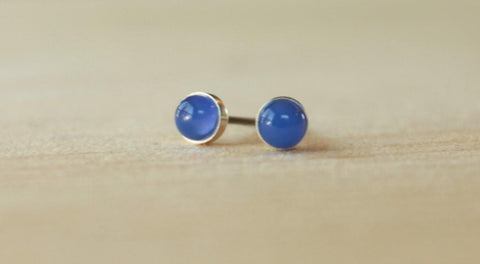 Blue Onyx Bezel Gemstones, Small (Niobium or Titanium Post Earrings) - Pretty Sensitive Ears