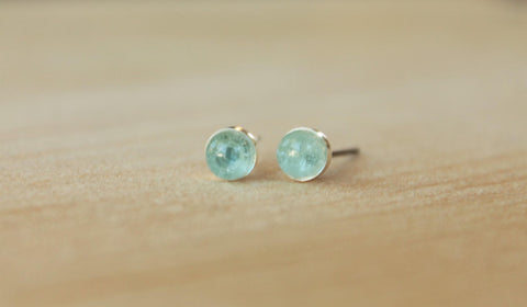 Sky Blue Topaz Bezel Gemstones, Med (Niobium or Titanium Post Earrings) - Pretty Sensitive Ears