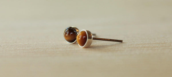 Tiger Eye Bezel Gemstones (Niobium or Titanium Stud Earrings) - Pretty Sensitive Ears