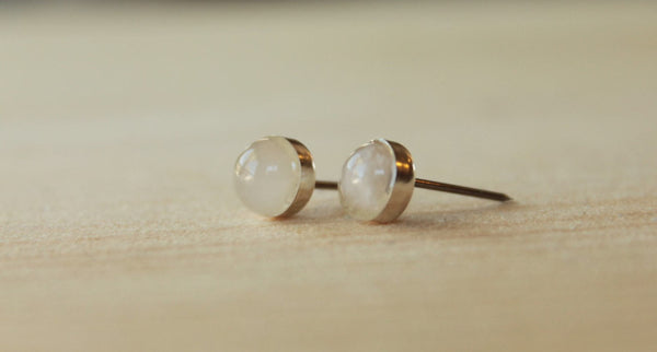Rose Quartz Bezel Gemstones, Large (Niobium or Titanium Stud Earrings) - Pretty Sensitive Ears