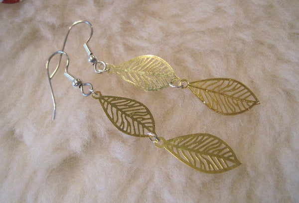 Golden Fall Leaves Dangles (Titanium, Niobium, or Surgical Steel Earrings) - Pretty Sensitive Ears