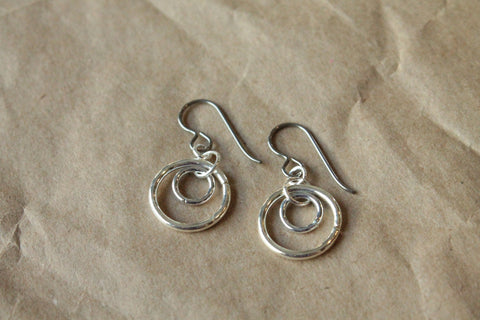 Pure Titanium Earrings / Hypoallergenic Hoop Earrings / Allergy Free Earrings Hoops - Small Double Silver Plated Hoop Dangle