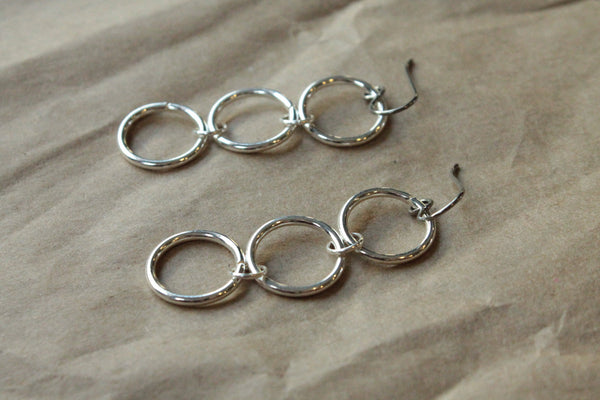 Titanium Earrings Hoops / Hoop Earrings for Sensitive Ears - Triple Chain Silver Plated Hoop Dangle