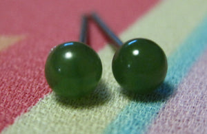 Nephrite Jade Gemstones, Small (Niobium, Titanium, or Surgical Steel Stud Earrings) - Pretty Sensitive Ears