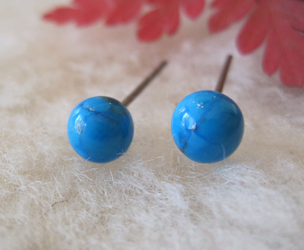 Turquoise Gemstones, Large (Niobium, Titanium, or Surgical Steel Stud Earrings) - Pretty Sensitive Ears