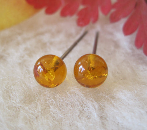 Hypoallergenic Amber 6mm Gemstone Stud Earrings (Nickel Free Niobium, Titanium/Surgical Steel Stud Earrings for Sensitive Ears) - Pretty Sensitive Ears