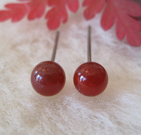 Carnelian Gemstones, Large (Niobium or Titanium Post Earrings) - Pretty Sensitive Ears