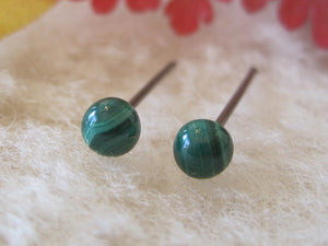 Malachite Gemstones, Small (Surgical Steel, Titanium, or Niobium Post Earrings) - Pretty Sensitive Ears