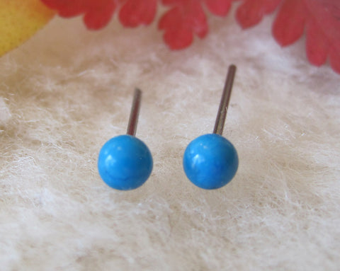 Turquoise Gemstones, Small (Titanium, Niobium, or Surgical Steel Stud Earrings) - Pretty Sensitive Ears