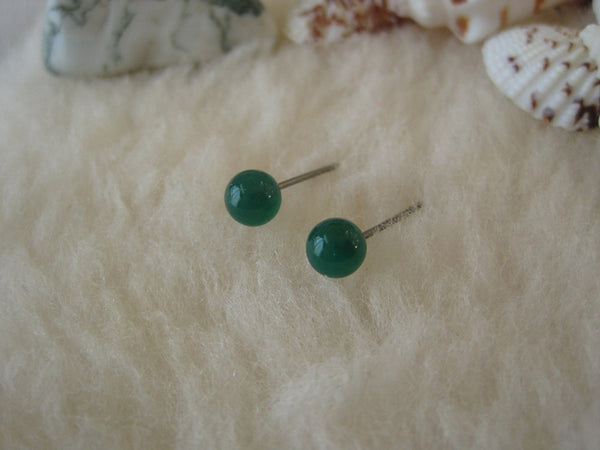 Green Onyx Gemstones, Large (Surgical Steel, Niobium, or Titanium Stud Earrings) - Pretty Sensitive Ears