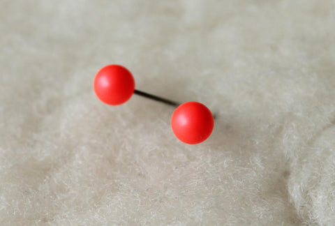 Neon Red Swarovski Pearls (Titanium / Niobium / Surgical Steel Post Earrings) - Pretty Sensitive Ears