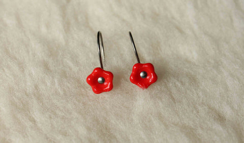Niobium Earrings - Red Orange Flower Drops - Nickel Free Hypoallergenic Earrings for Sensitive Ears - Pretty Sensitive Ears