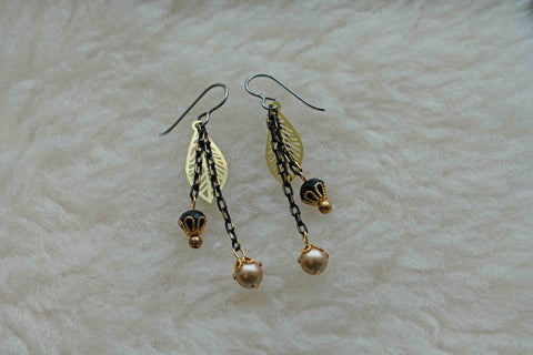 Black and Gold Dangles (Niobium Earrings, Titanium Earrings, or Surgical Steel Earrings) - Pretty Sensitive Ears