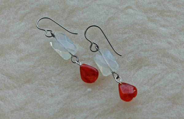 Carnelian Rain Dangles (Titanium, Niobium, or Surgical Steel Earrings) - Pretty Sensitive Ears