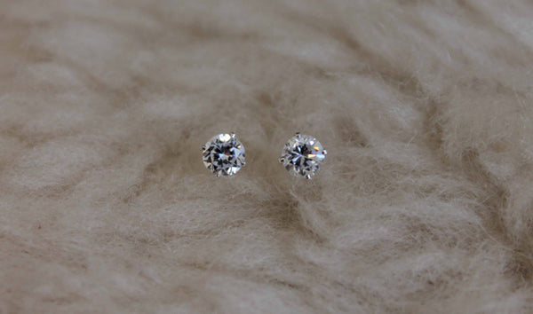 Cubic Zirconia CZ, Small (Nickel Free, Hypoallergenic Argentium Silver Stud Earrings) - Pretty Sensitive Ears