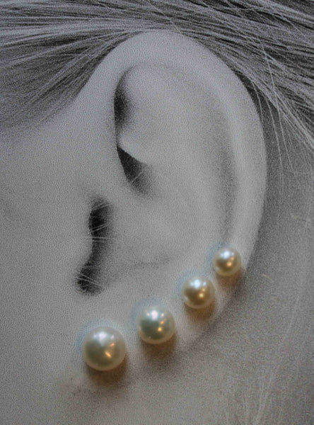 Classic Pearls, Extra Large (Niobium, Titanium, or Surgical Steel Post Earrings for Sensitive Ears) - Pretty Sensitive Ears