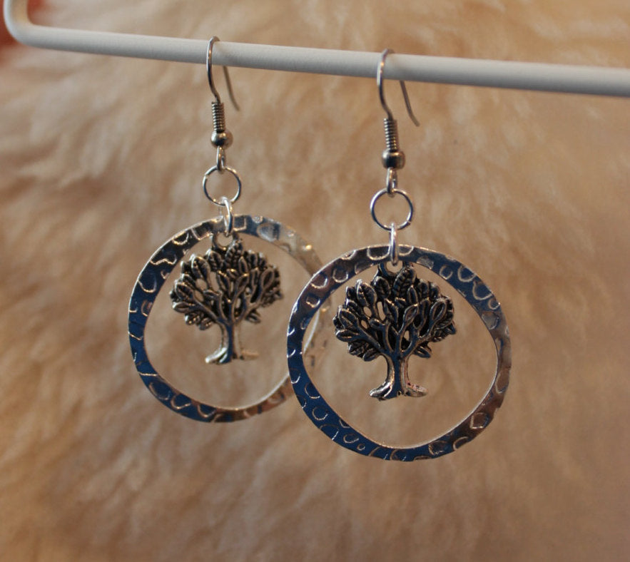 Tree Rings Dangles (Surgical Steel Earrings, Titanium Earrings, or Niobium Earrings) - Pretty Sensitive Ears