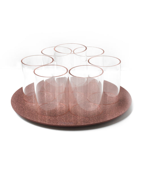 Acrylic Rose Gold/Clear Rotating Brush Holder
