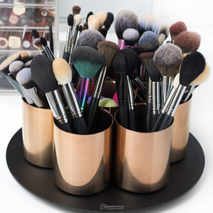 Stainless Steel Rose Gold/Matte Black Rotating Brush Holder