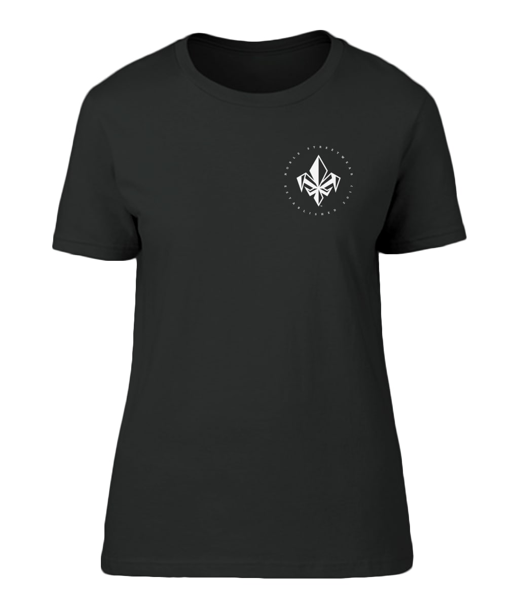 Black Womens Left Chest Fleur De Lis T Shirt | Noble Streetwear