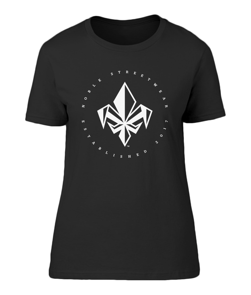 Black Womens Chest Fleur De Lis T Shirt | Noble Streetwear
