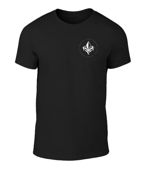 Black Mens Left Chest Fleur De Lis T Shirt | Noble Streetwear