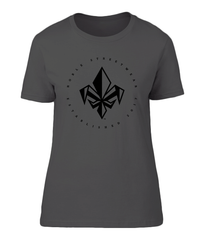 Heather Dark Grey Womens Chest Fleur De Lis T Shirt | Noble Streetwear