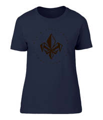 Navy Blue Womens Chest Fleur De Lis T Shirt | Noble Streetwear