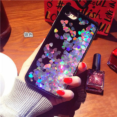 Glitter Heart Liquid Case For iPhone 7 6 6S