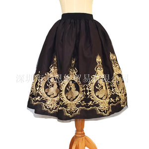 Top Sale Black Vintage Prom Skirt  Black Embroidery  Skirts