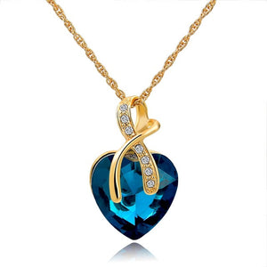 CHICVIE Steam Punk Austrian Crystal Heart Nenecklaces & Pendants For Women Gold Statement Necklace Ethnic Blue Jewelry SNE140228