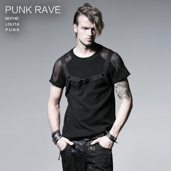 Punk Rave Black Slim fit Mens T-SHIRT Top Visual Kei Streampunk M-3XL free ship