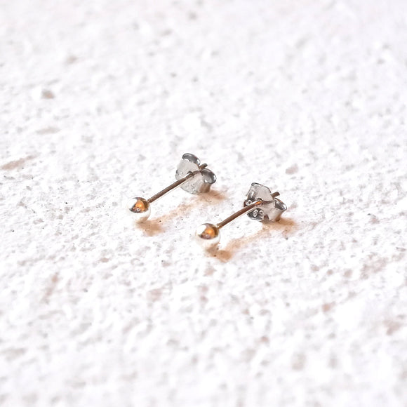 Tiny Ball Studs, Sterling Silver