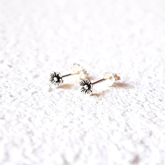 Tiny Flower Studs, Sterling Silver