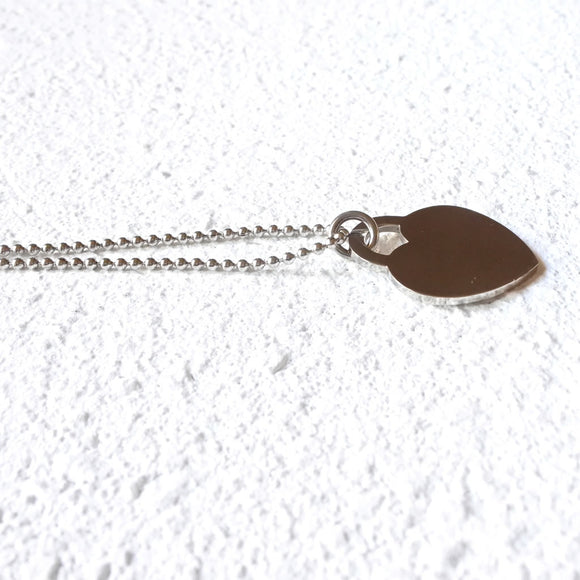 Heart Tag Necklace, Silver