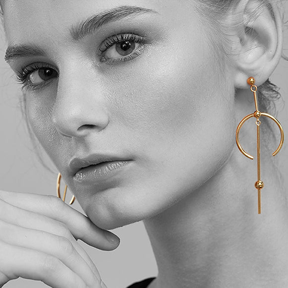 Tribal Drop Earrings, Gold