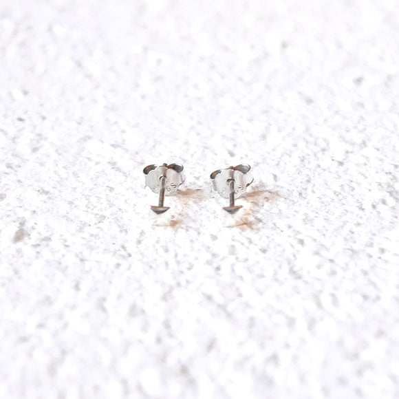Tiny Square Studs, Sterling Silver