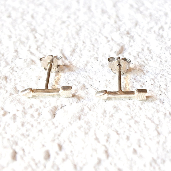 Tiny Archer Studs, Sterling Silver