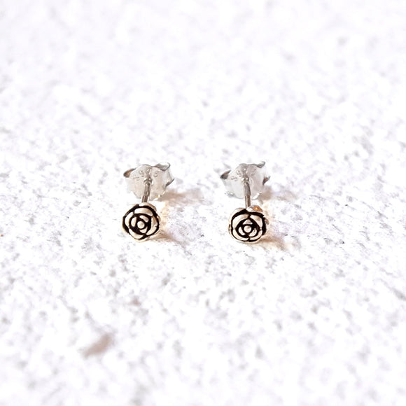 Tiny Rose Studs, Sterling Silver