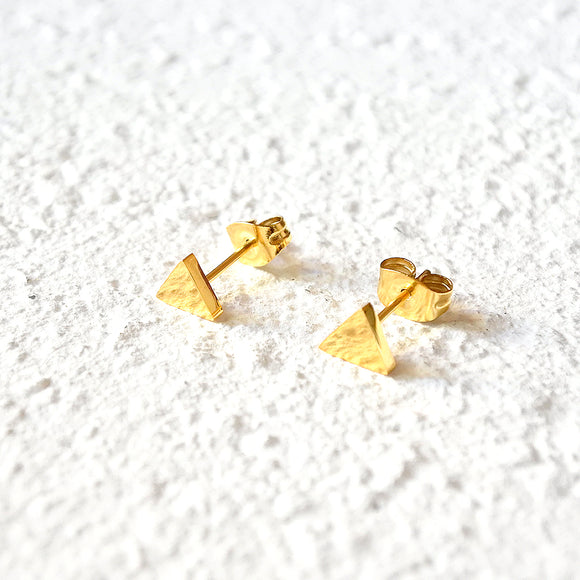 Pyramid Stud Earrings, Gold