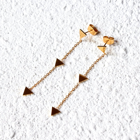 Pyramid Drop Earrings, Gold