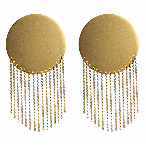 Athena Shield Earrings, Gold