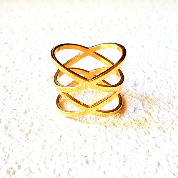 Double Crossed Ring, Gold