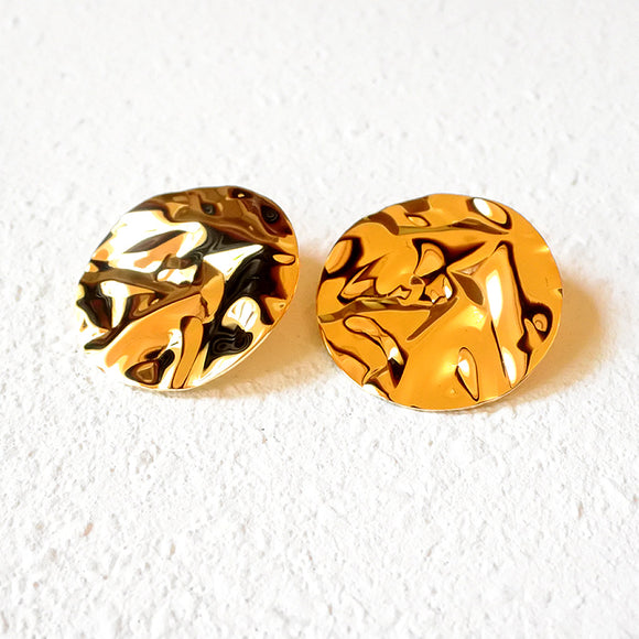 Crushed Metal Earrings, Gold