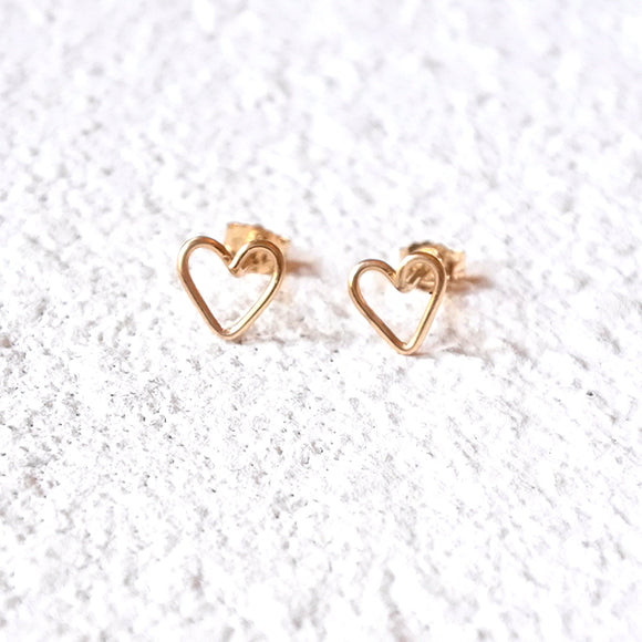Heart Stud Earrings, Gold Vermeil