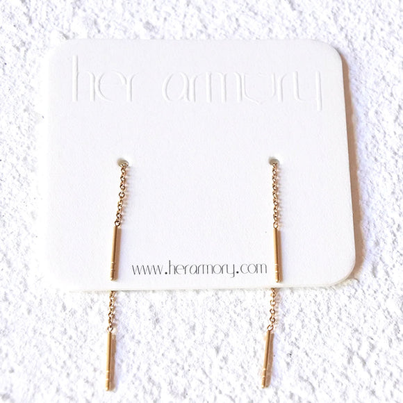 Threaded Bar Earrings, Gold