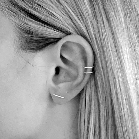 Fine Bar Studs, Sterling Silver