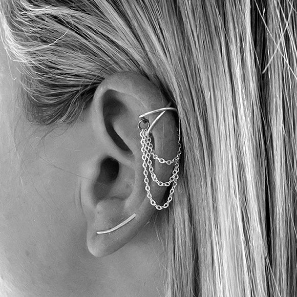 Cross Chain Ear Cuff, Sterling Silver